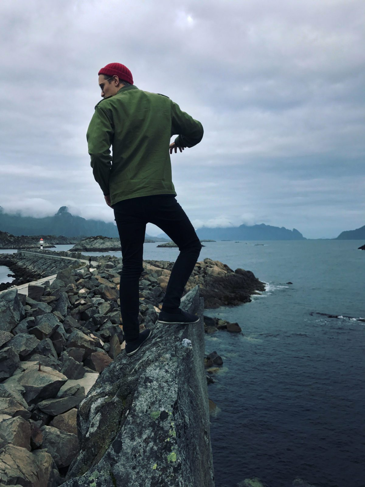 Climbing on a rock in Lofoten.