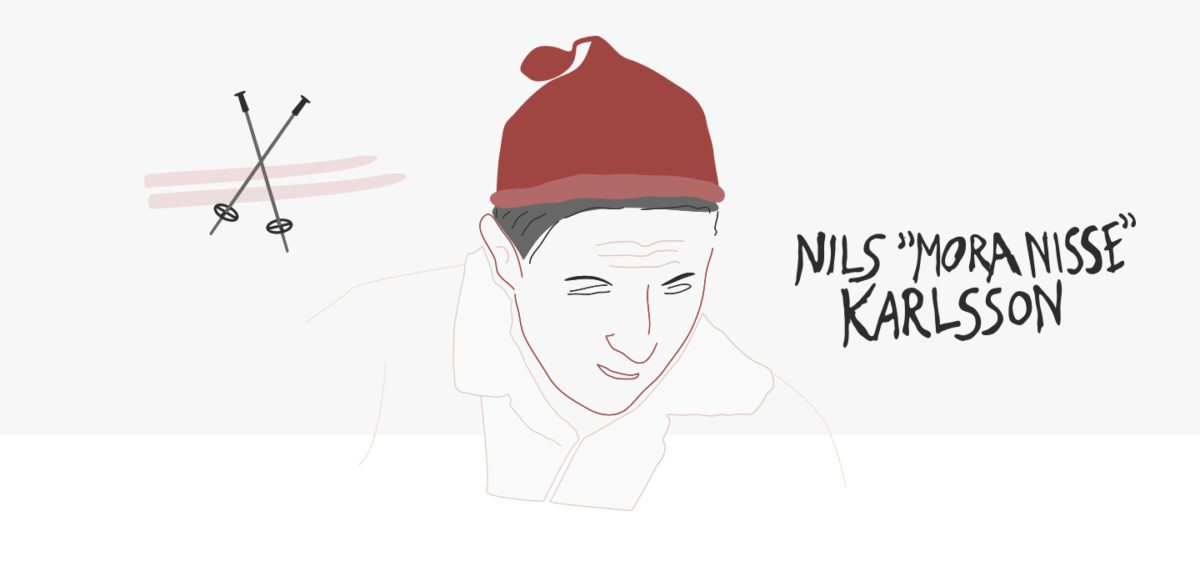 "Lars ""Mora Nisse"" Karlsson with a red cap with a pom-pom."