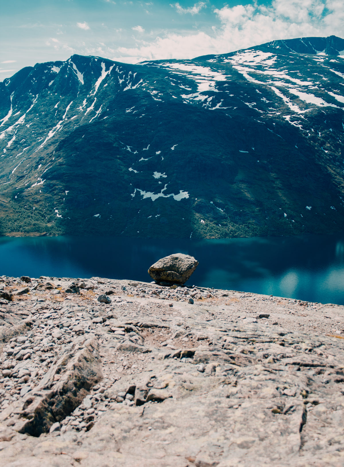 A lone rock by Besseggen, Norway
