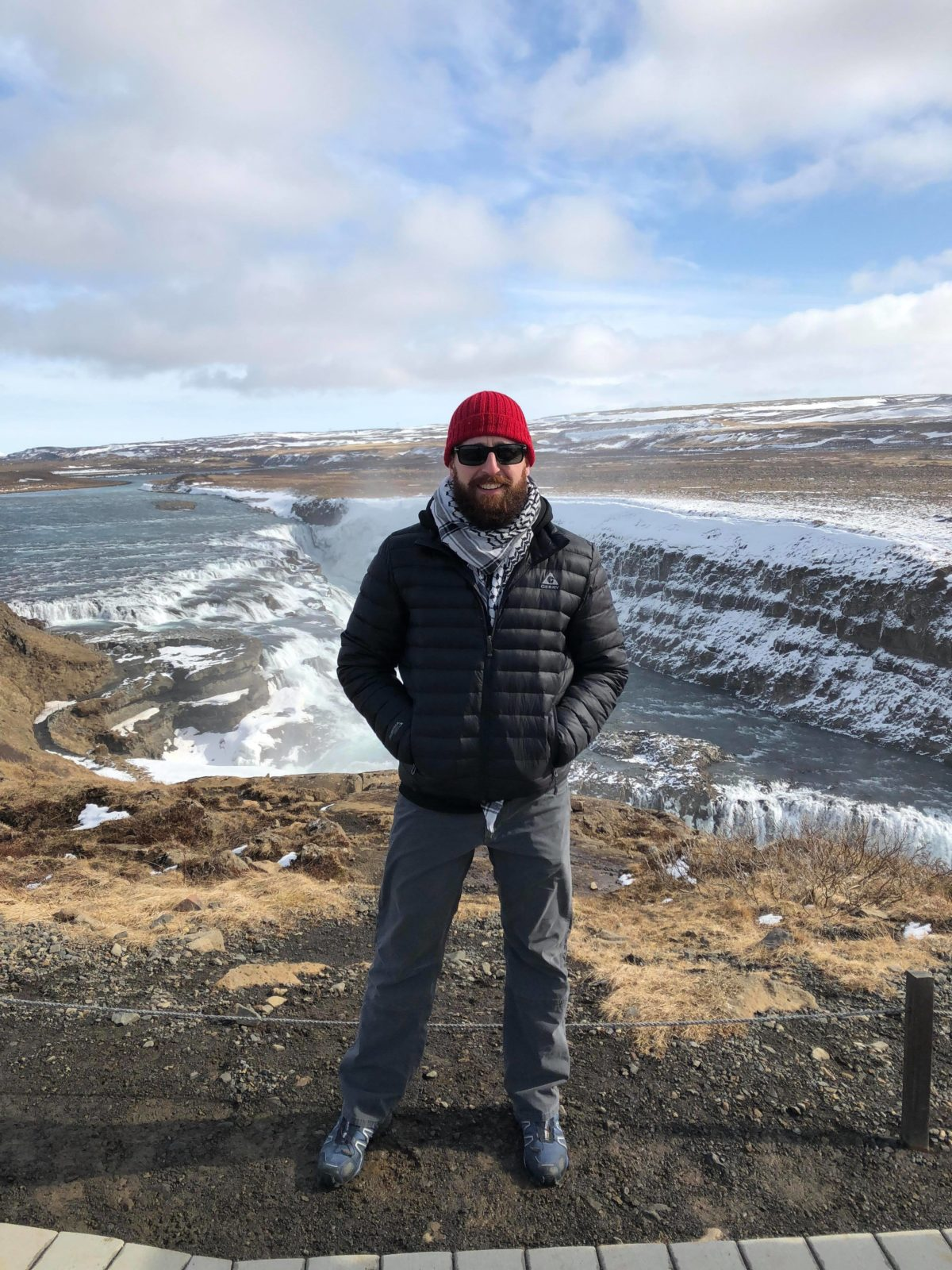 Red cap on iceland