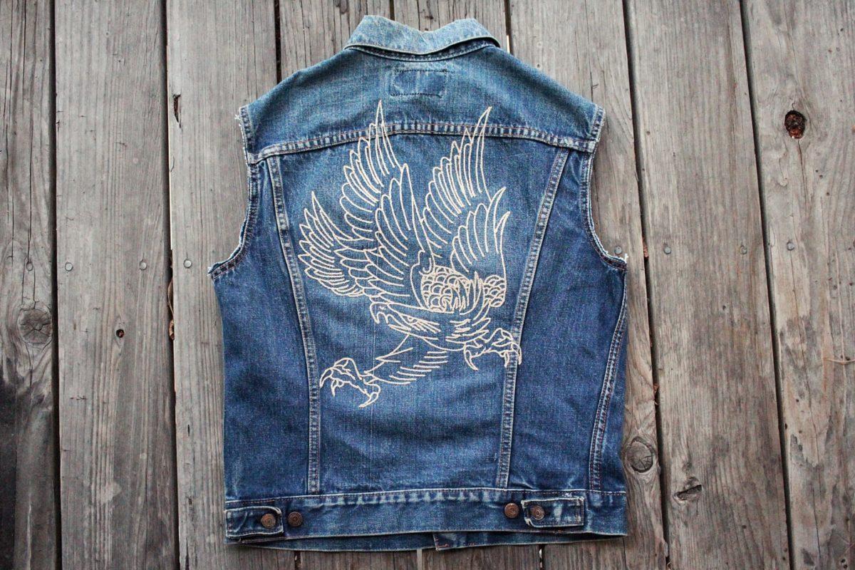 Chainstitched denim vest