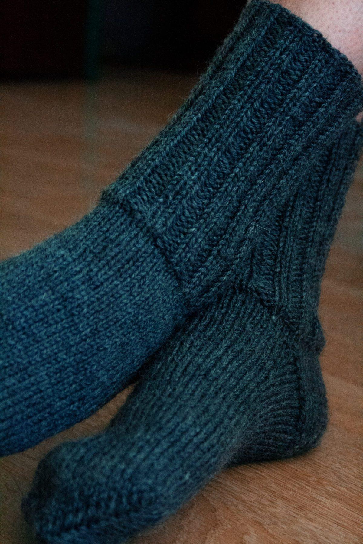 Hand knit wool socks close up