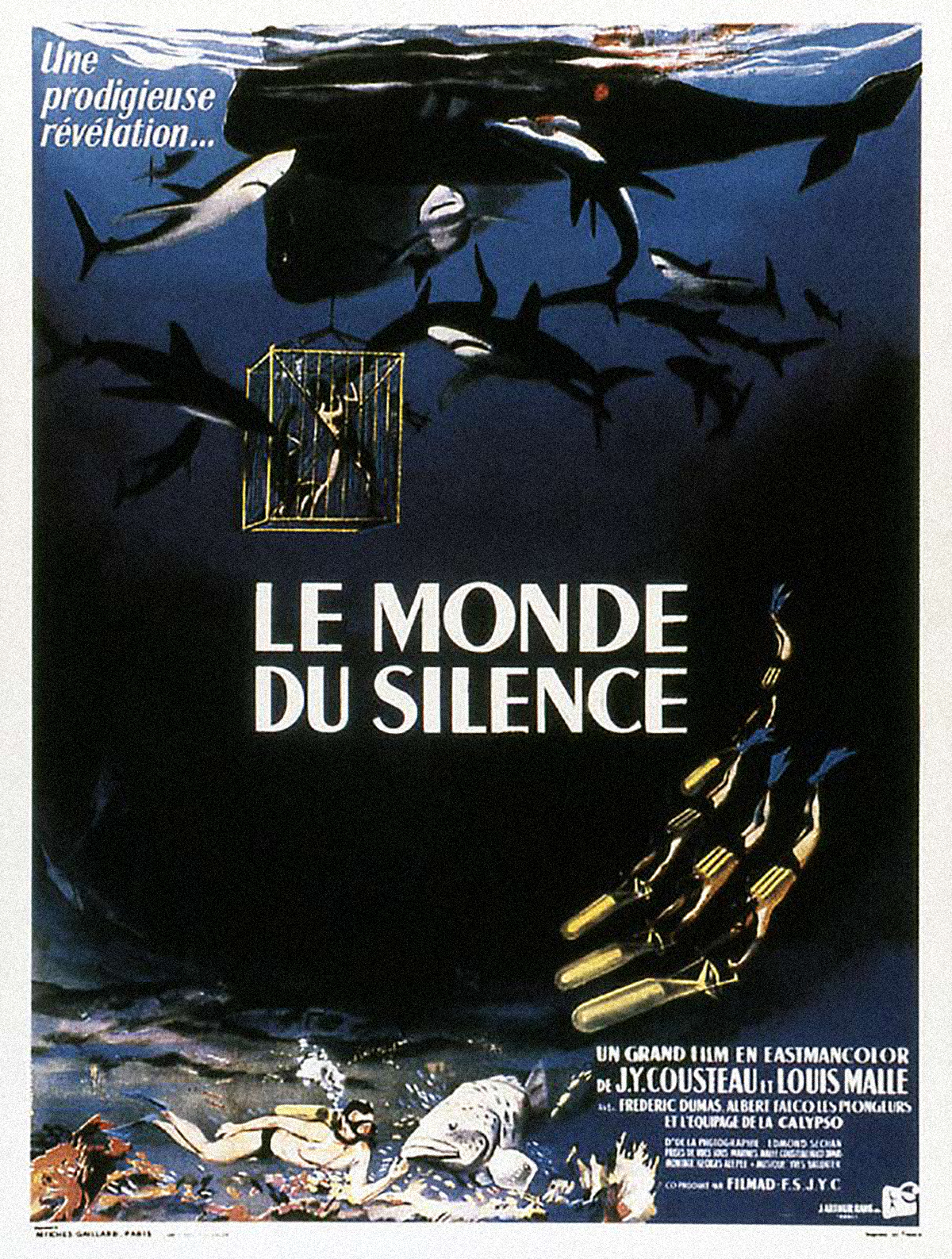 The Silent World, by Jaques Cousteau movie poster.