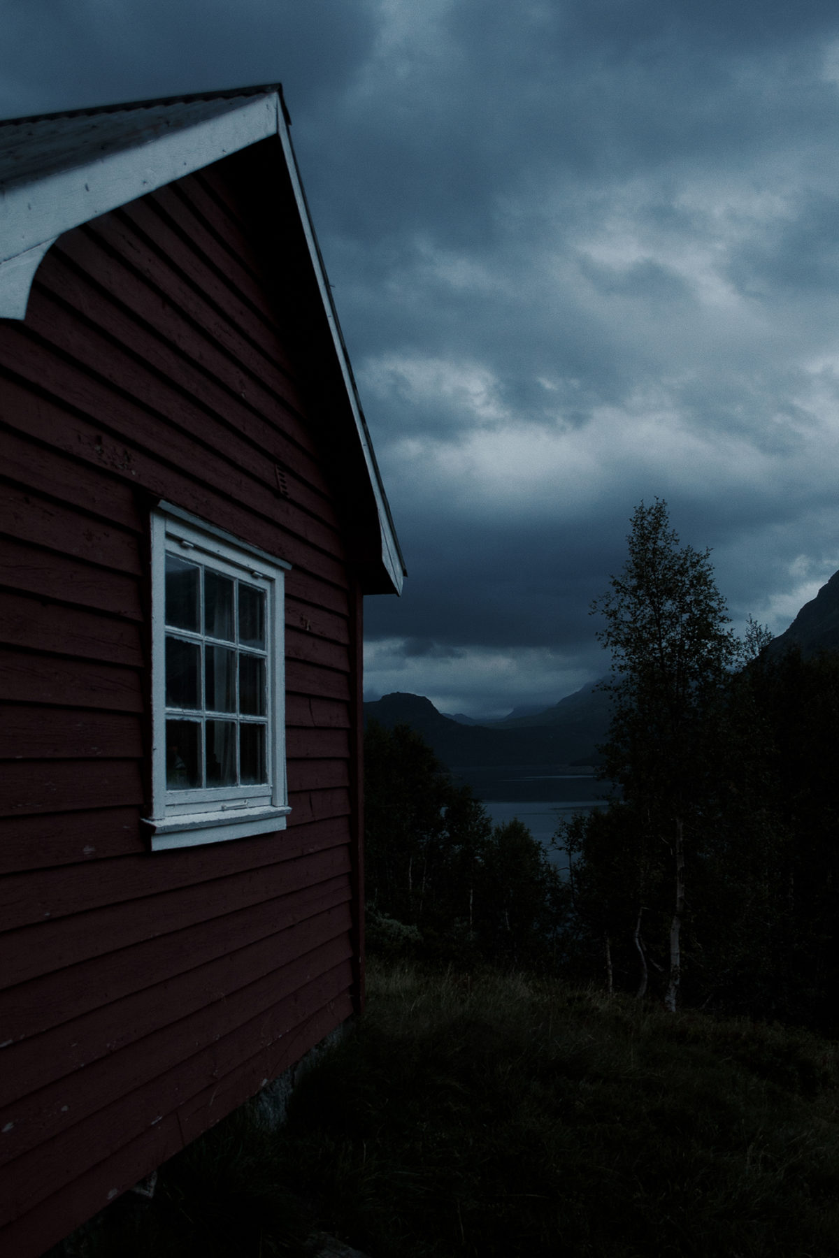 Red cabin at night, Røldal Norway