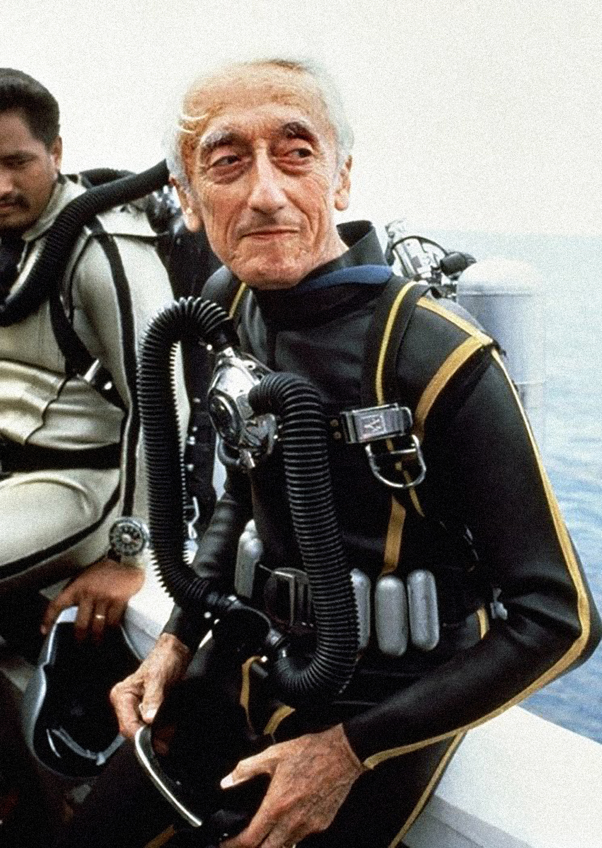 Jaques Costeau dressed up in diving equipment