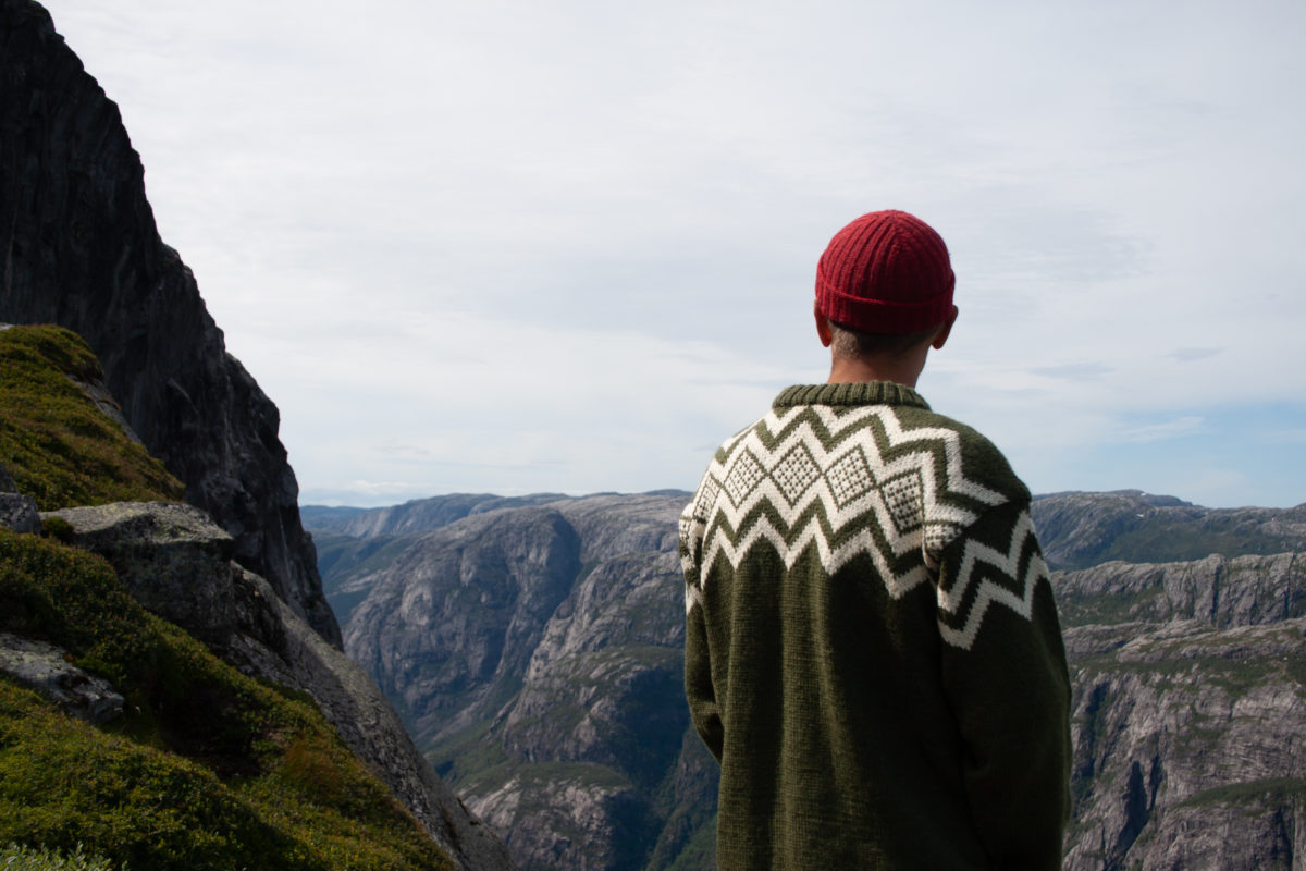 Hand knit wool sweater in Norwegian mountains