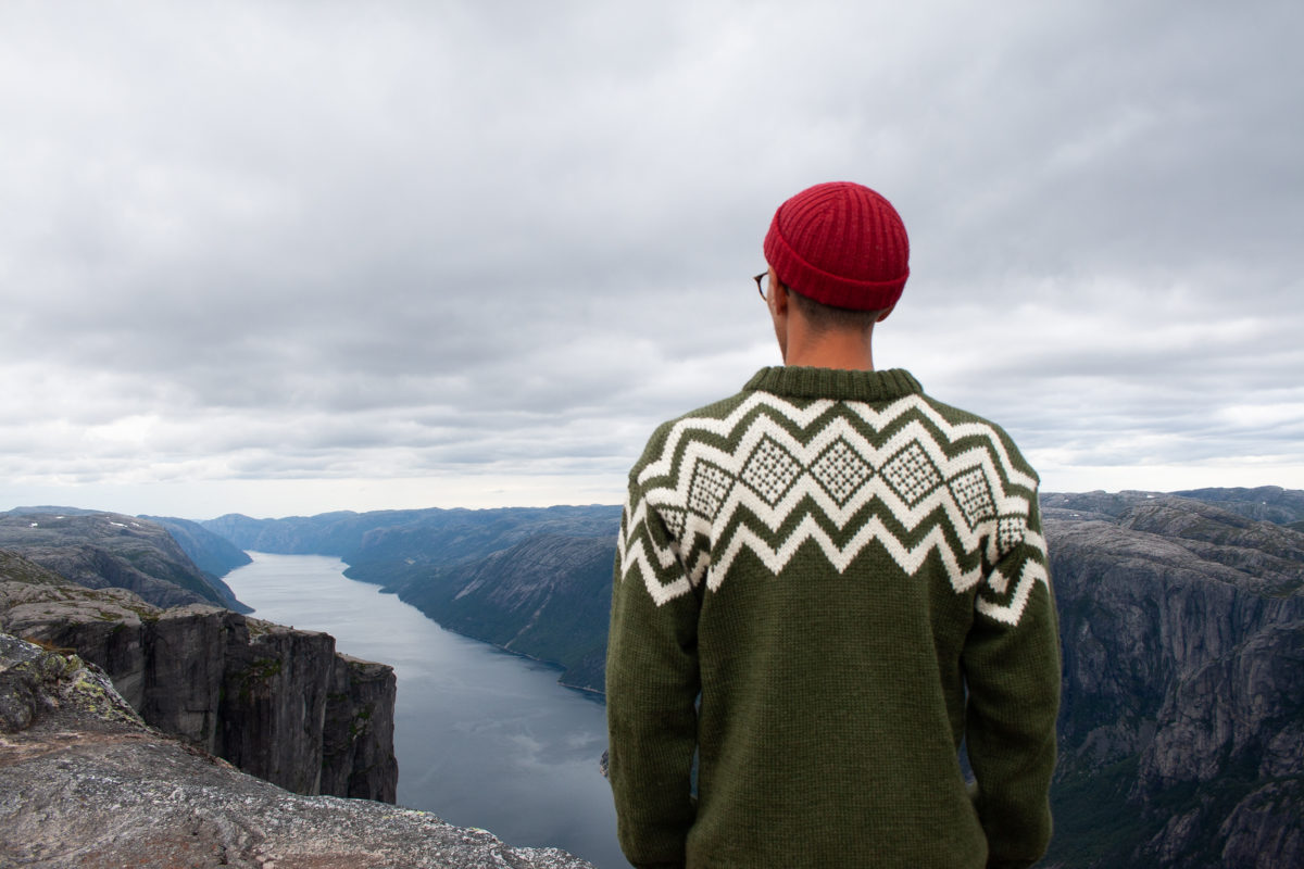 Norwegian wool sweater in the mountains