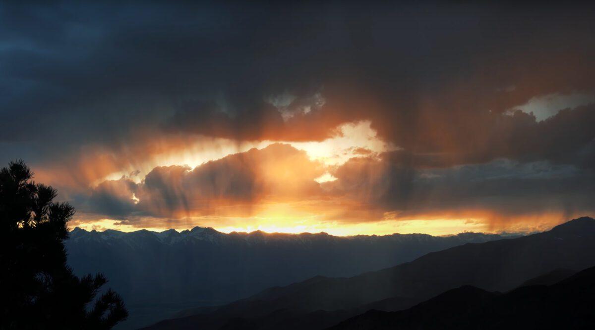 Cerro Gordo mining town sunset.