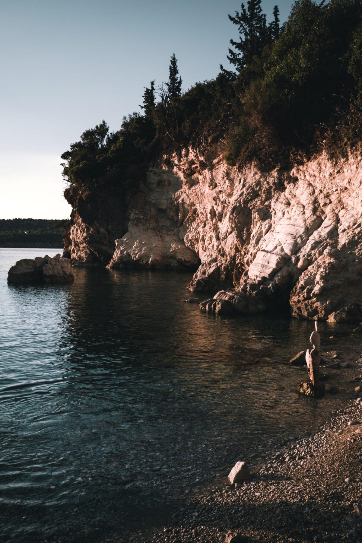 Cliffs and sea on the coast of Lefkada.