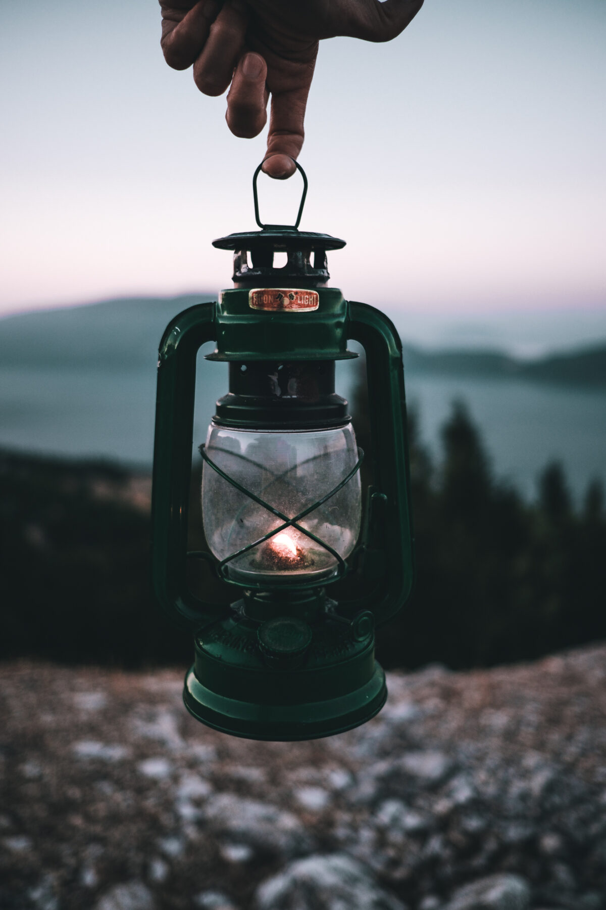 A gas lamp,