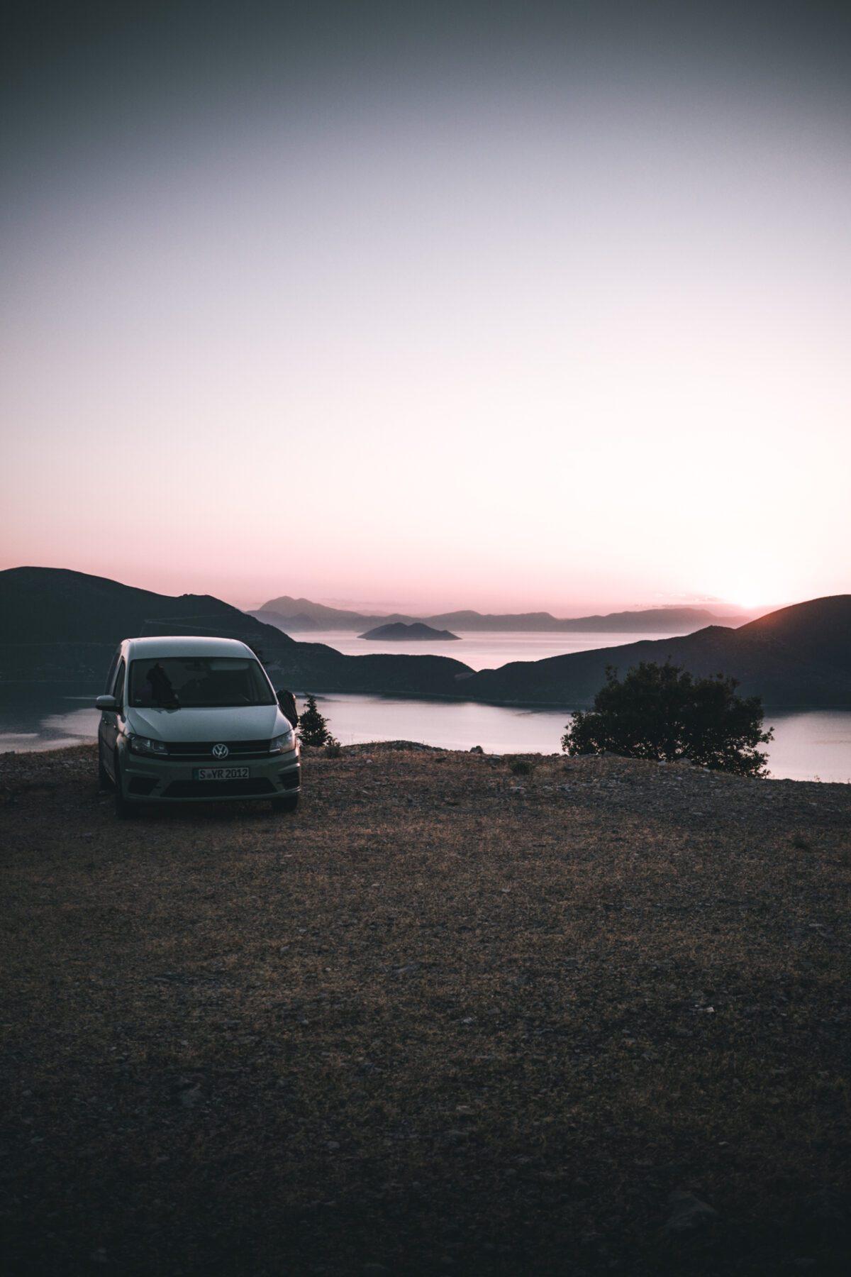 Van and sunrise