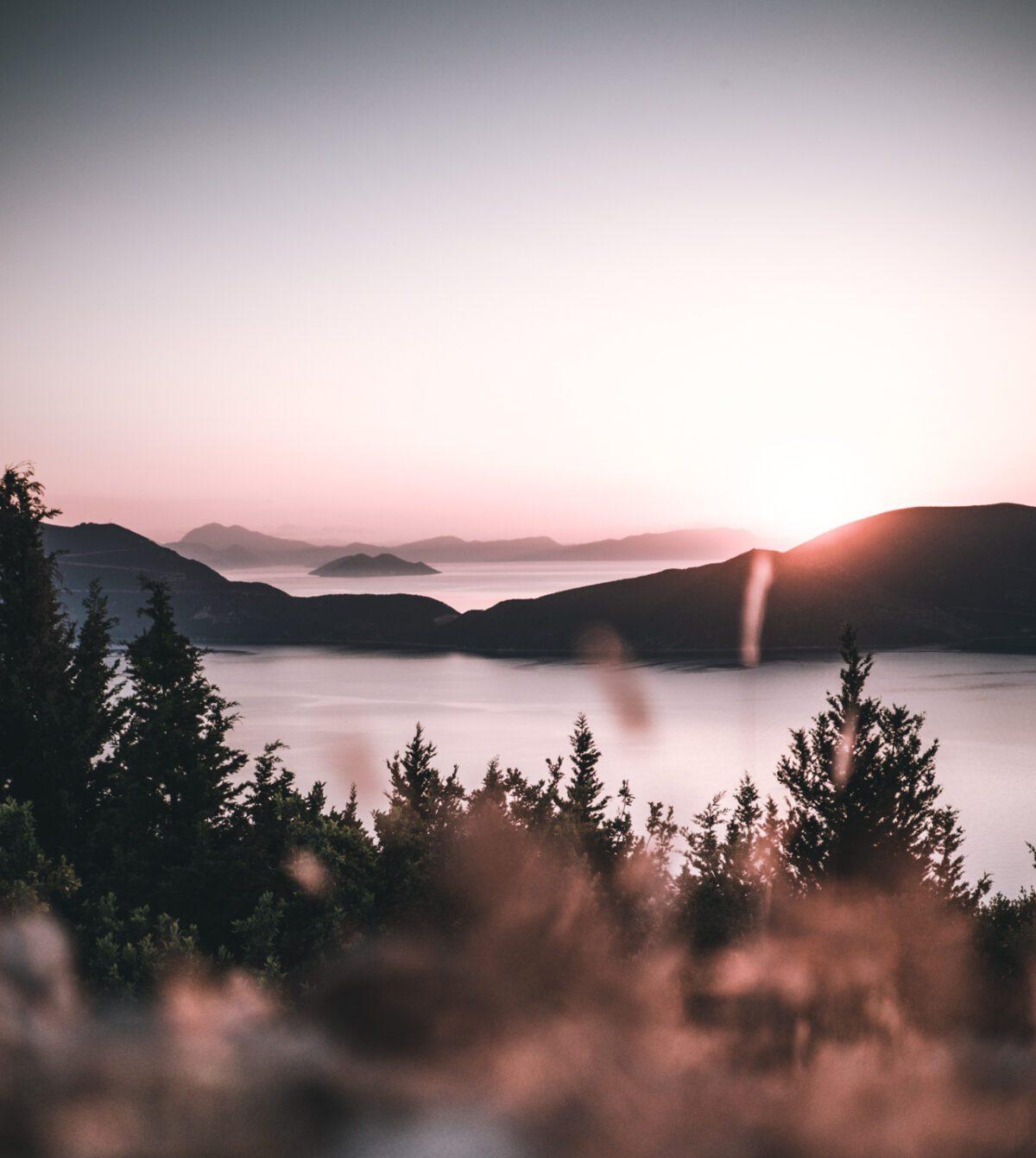 Sunrise over Greek sea