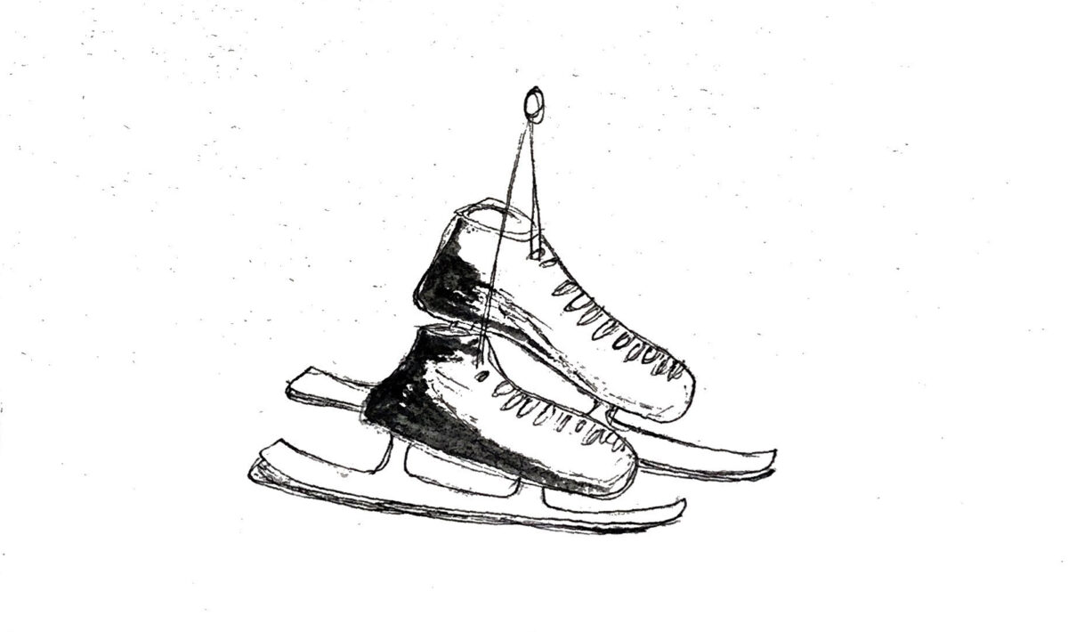 A minimalist drawing of a pair of ice skates.