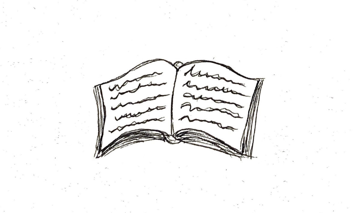 A minimalist drawing of a book.