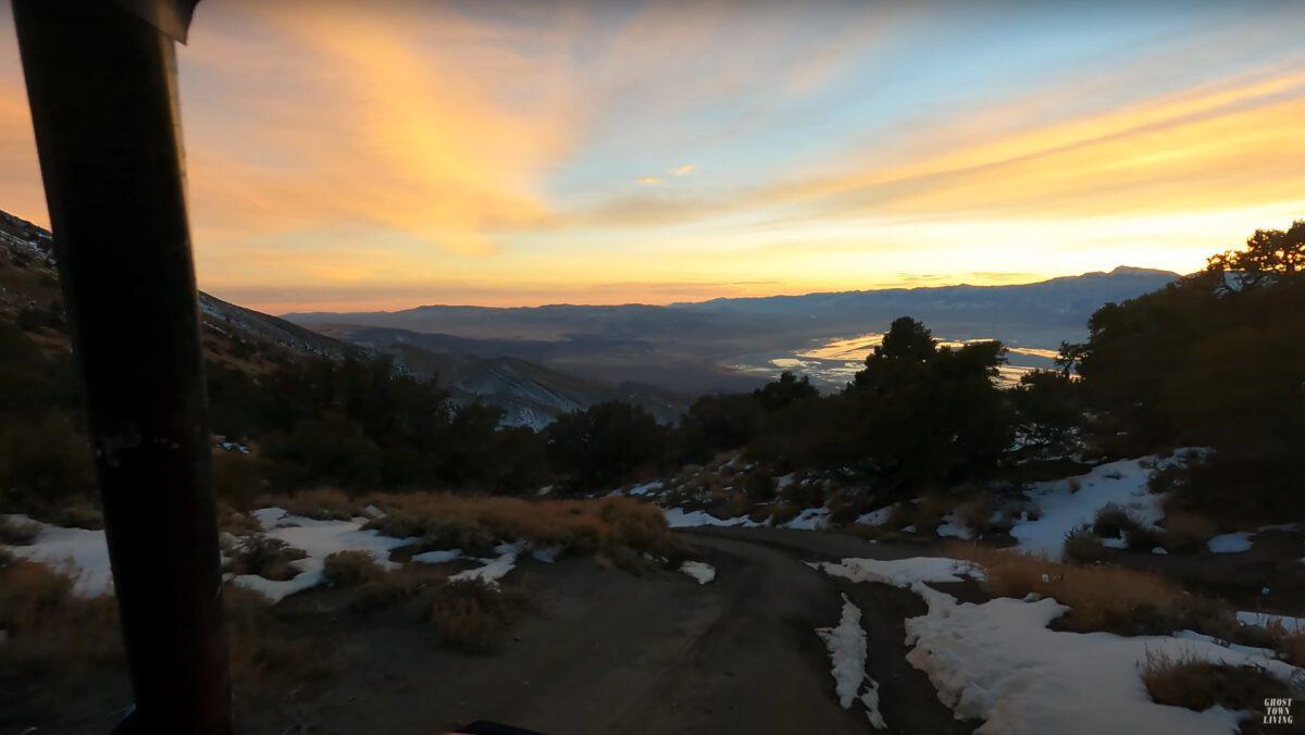 Cerro Gord ghost town in sunset.