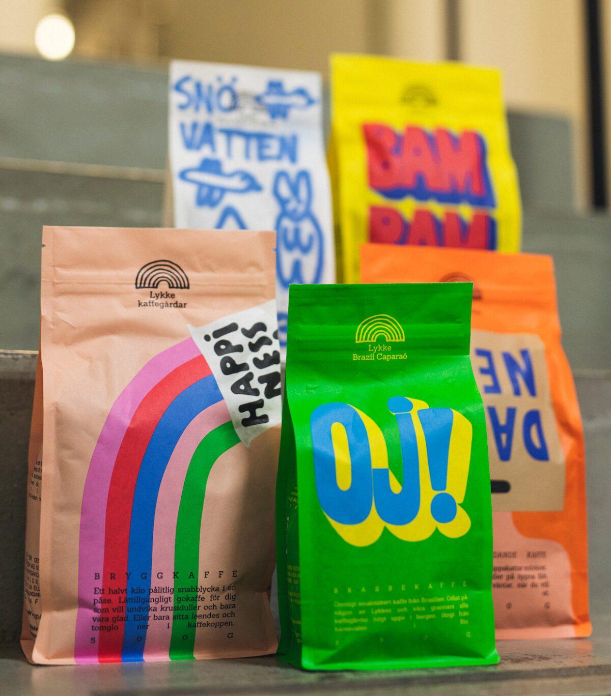 Lykke Kaffegårdar, coffee types in branded coffee bags.